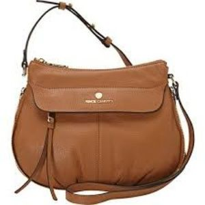 VINCE CAMUTO DEAN TAN PEBBLE LEATHER SATCHEL BAG